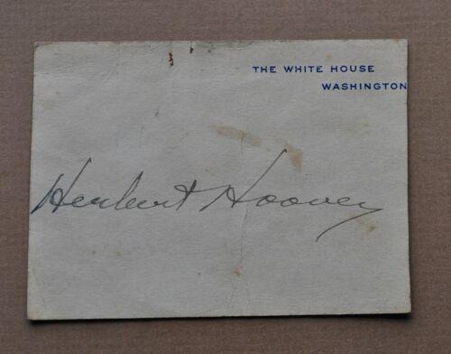 President Herbert Hoover cut autograph on portion of Whitehouse souvenir card