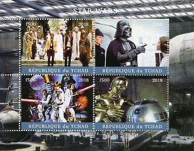 Chad 2018 CTO Star Wars Darth Vader Luke Skywalker Han Solo R2D2 4v M/S Stamps