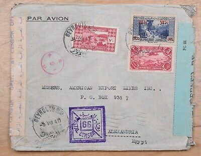 Lebanon Beirut to Alexandria 1940 Cover With Palestine & Egyptian Censor Tape