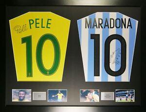 Pele and Maradona Argentina and Brazil framed signed shirt display