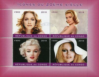 Congo 2018 CTO Madonna Marilyn Monroe Bardot Grace Kelly 4v M/S II Stamps