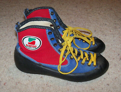 Vintage Scarpa Asolo Blue Red Rock Climbing Hi Top Shoes 38, Women 7.5, Men 6