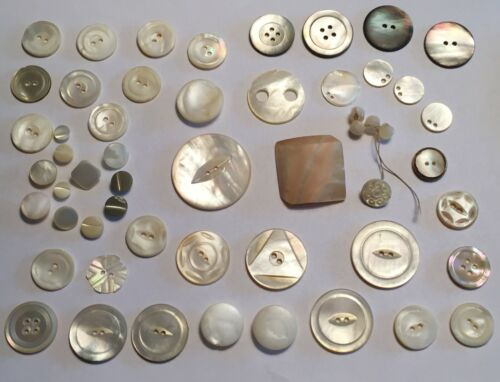 mixed lot 54 antique mop shell buttons cube, carved, small domed  NICE SET