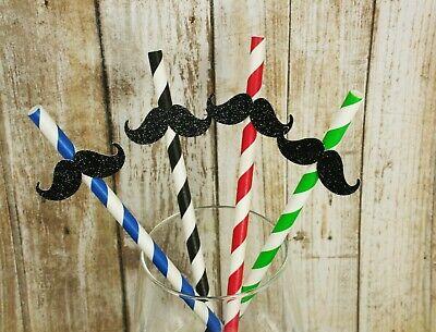 Mustache Paper Straws (Glitter MUSTACHE Design 7.75