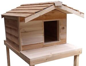... -LARGE-INSULATED-CEDAR-OUTDOOR-CAT-HOUSE-FERAL-SHELTER-WITH-PLATFORM