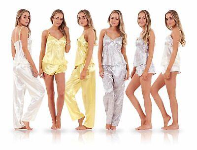 Ladies Cute 3 Piece Satin Short Sleeve Pyjama Set Womens Vest Lace Shorts PJ'S  3 Piece Satin Vest