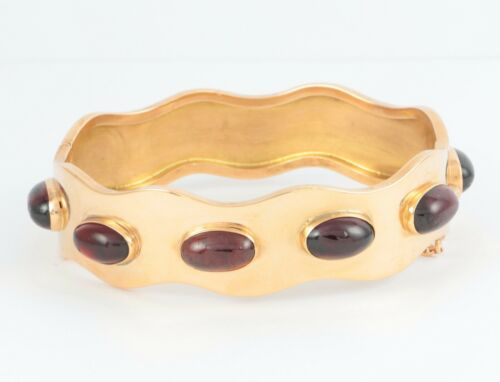 Antique Victorian 9Ct Gold And Cabochon Garnet Hinged Bangle / Bracelet