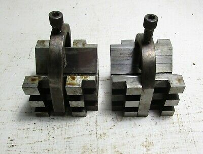 Pair Of Heavy Duty V Blocks With Clamps
