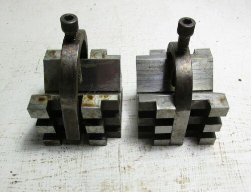 """Pair of Heavy Duty """"V"""" Blocks with Clamps"""