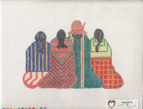 New Hand Painted Needlepoint canvas-  Four  Natives - Free shipping