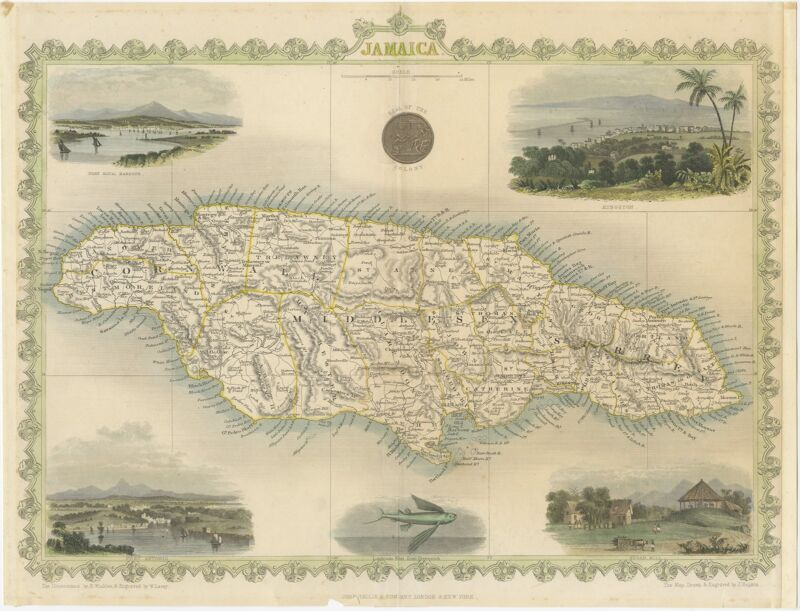 Antique Map of Jamaica by Tallis (1851)