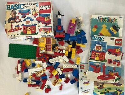Vintage 1980's LEGO Basic Building Set # 517 with Original Box Plus Extra Pieces