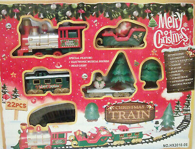TRAIN SET: MERRY CHRISTMAS BATTERY OPERATED Many pieces and tracks! NEW!!