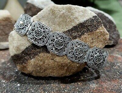 Vintage Sterling Silver - Marcasite Filigree Ornate Bracelet  ()