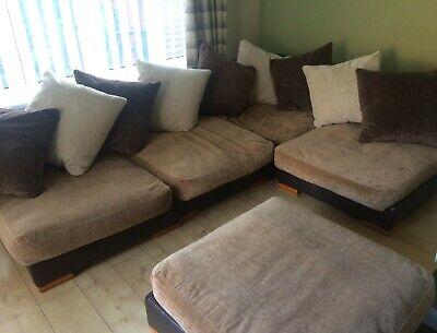 Corner Sofa Modular Brown Beige Leather Fabric Mix Settee