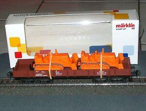 Marklin-4474-VAGONE-senza-sponde-4-assi-con-2-planierraupen-caricamento-034