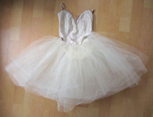 Vtg ivory cream ballet dance tutu costume big tulle skirt adjustable straps 12A