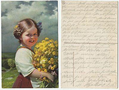 Kleines Mädchen Vom Land (31791 - Kleines Mädchen vom Lande mit Blumen - alte Ansichtskarte)