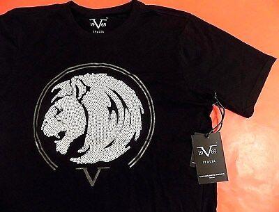 VERSACE V 19.69 Italia Lion Head Tee T Shirt Men S Small 19V69 1969 19 69 BLACK