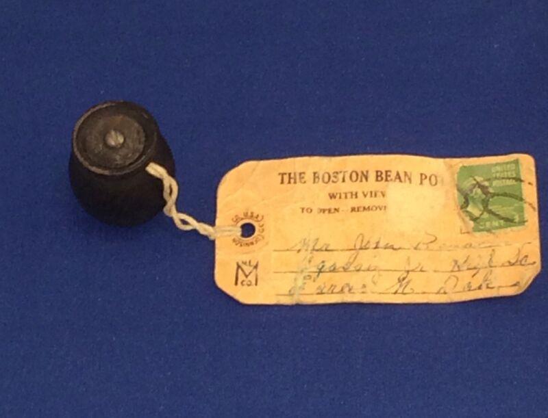 Souvenir Boston Bean Pot Wooden Vintage Postcard With Stamp
