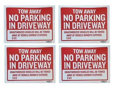 4pc Tow Away No Parking In Driveway Sign 9x12 Red Flexible Plastic - 4 Sing