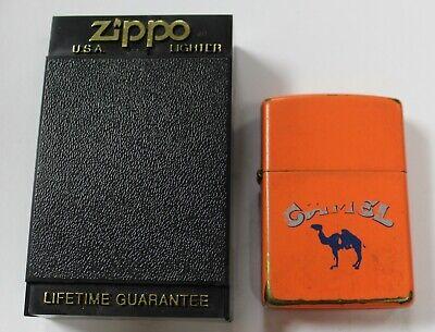 Vintage 1994 Zippo Camel Cigarette Cigar Lighter Case Matte Orange Blue Used