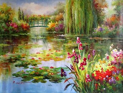 Claude Monet Colorful Water Lily Pond Repro 7, Hand Painted Oil Painting 36x48in