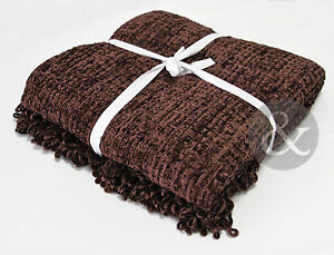 Chenille-Throws-Chocolate-Brown-Extra-Large-Thermal-Woven-Bedspread-Throw-Over