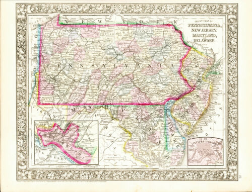 1860 MITCHELL Hand Colored Map PENNSYLVANIA, NEW JERSEY, MARYLAND and DELAWARE