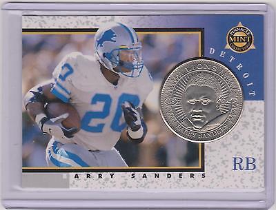 Detroit Lions Coin Card - RARE 1997 PINNACLE MINT BARRY SANDERS SILVER COIN & CARD #8 ~ DETROIT LIONS ~QTY