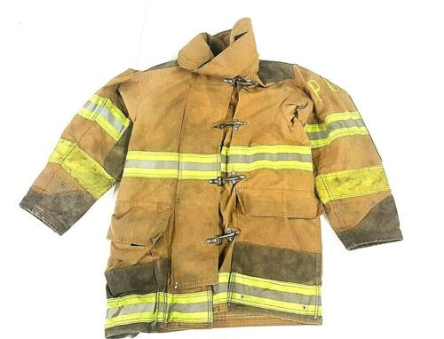 38x35 Brown Globe Firefighter Turnout Jacket Coat Yellow Tape -  No Liner JNL-45