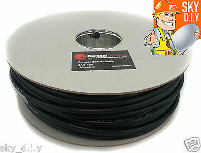 15m Black RG6 Satellite + Freesat Digital TV Aerial Coax Cable Coaxial Lead
