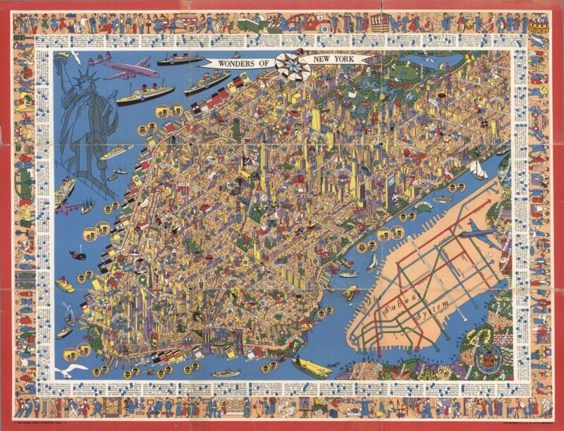 1950 PICTORIAL map Wonders of New York Manhattan Subway system POSTER 8982