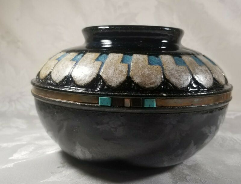 Black Inlay Pottery By Rush Teco Studios
