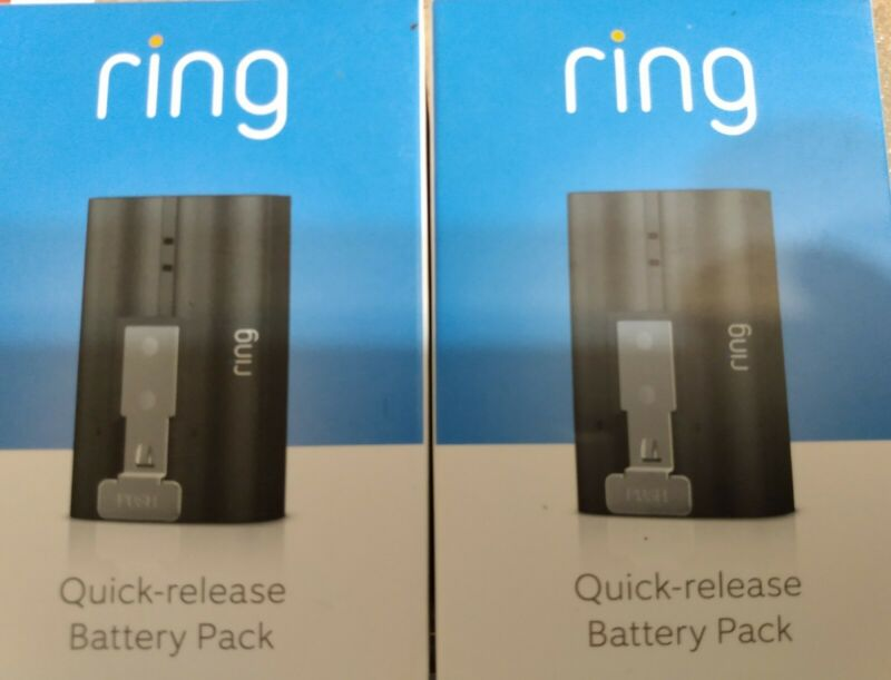Ring 2 Video Door Bell Rechargeable Battery Pack Quick Release Power Backup X 2