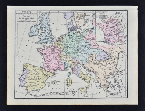 1885 Drioux Map - Europe 1556-1648 Thirty Year War Charles V & Henry III France