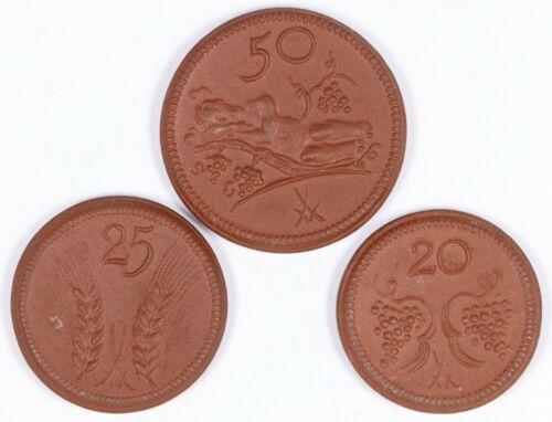 Set of 3 20, 25, 50 Pfennig German Porcelain Notgeld Munsterberg Schles