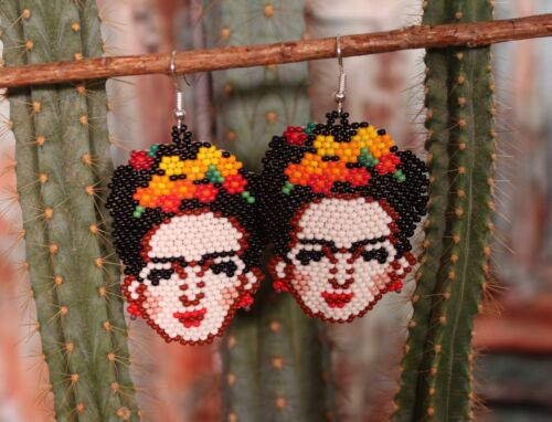 Lg Frida Kahlo Earrings Huichol Indian Bead Work Artist Painter Mexican Folk Art