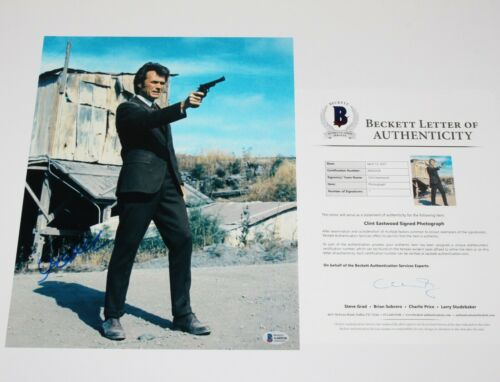 CLINT EASTWOOD SIGNED DIRTY HARRY THE GOOD BAD AND UGLY 11x14 PHOTO BECKETT BAS