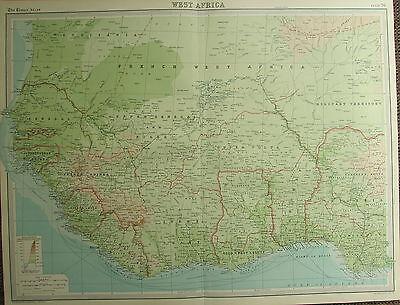 1922 LARGE ANTIQUE MAP ~ WEST AFRICA ~ IVORY GOLD COAST NIGERIA