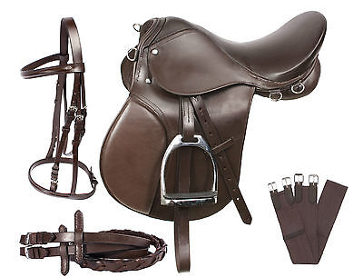 PRO ALL PURPOSE BROWN LEATHER ENGLISH HORSE SADDLE GIRTH TACK SET 16 17
