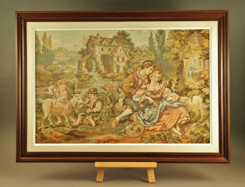 Framed Antique 19C Needlepoint Textile Tapestry - Country Landscape w Figures
