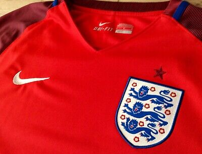Men's Original Nike England 2016 Away Red Shirt Large