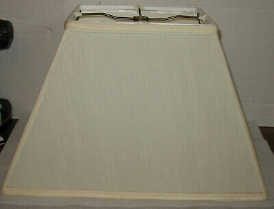 Fabric Tapered Shade (Vintage Tan/Beige Fabric Rectangular Tapered Lamp Light Shade Part )