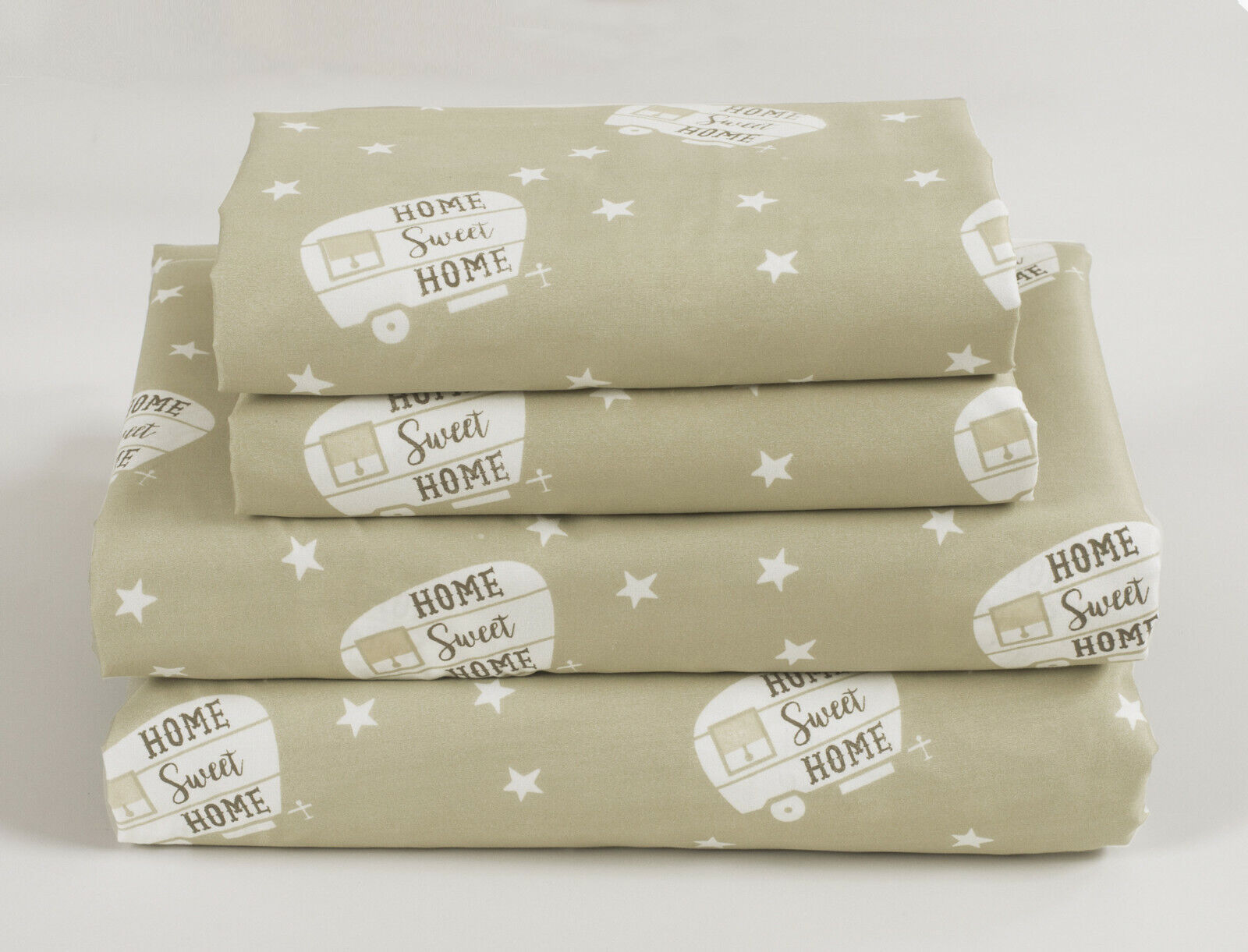 Twin, Full, Queen or King RV Camping Sheet Set Motorhome Bedding, Tan and White Bedding
