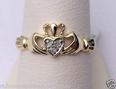 Diamond Claddagh Wedding Band - 10k Yellow Gold Diamond Claddagh Irish Ring Wedding Fashion Band
