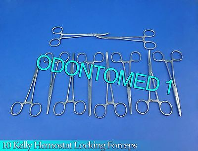 10 Kelly Hemostat Locking Forceps Straightcurved 10 Surgical Instruments