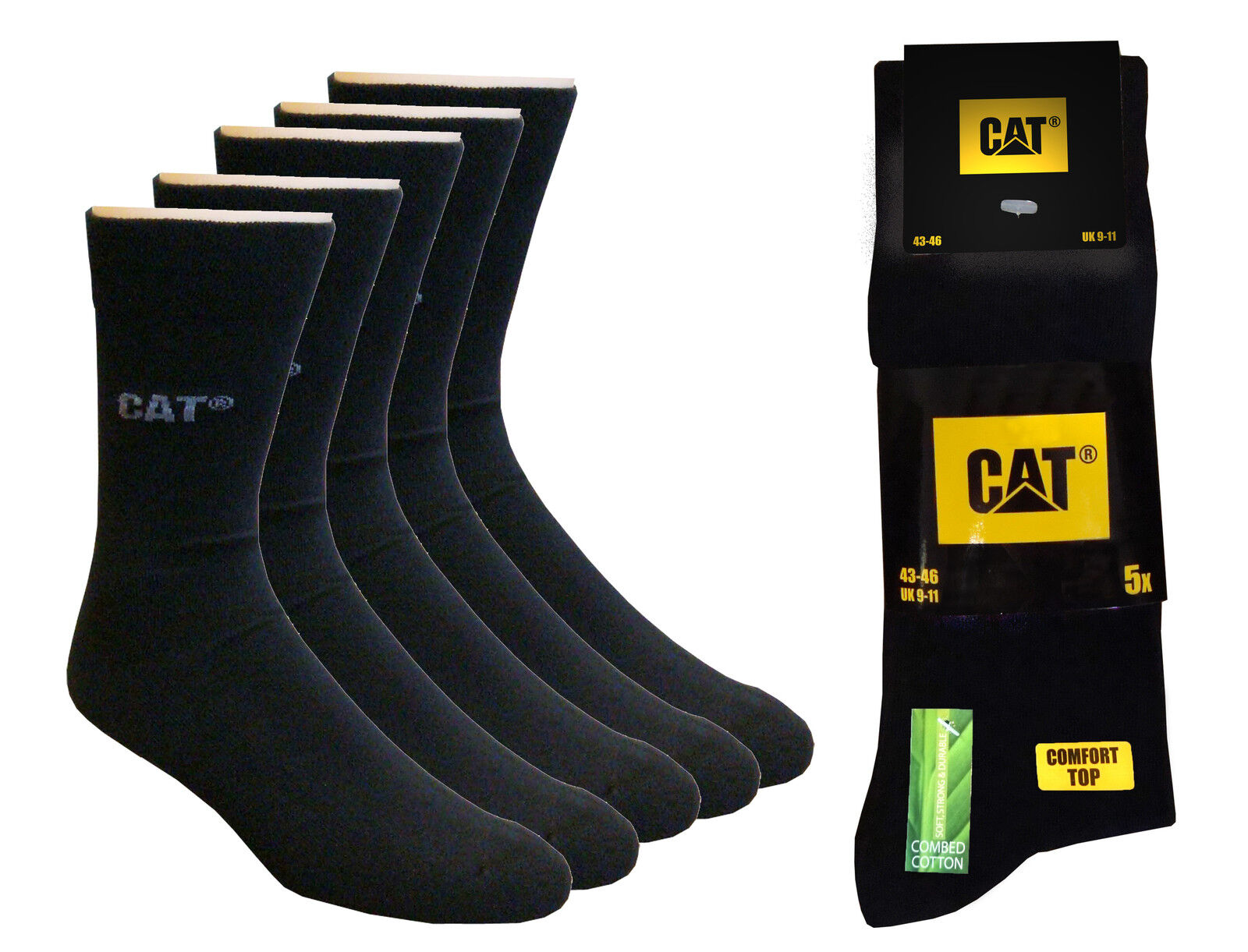 CAT Caterpillar 10 Paar Businesssocken, SONDERANGEBOT, Schwarz, 39-42,