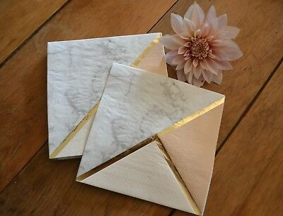 16 PAPER NAPKINS MARBLE PEACH GOLD - RETRO WEDDING PARTY TABLEWARE GEOMETRIC (Peach Paper Napkins)