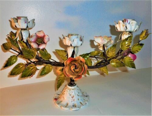 Vintage 1950s Big Italian Tole Ware 3 Candle Holder Centerpiece Pink Roses